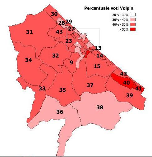 Mappa dei voti al primo turno per i 7 candidati sindaco